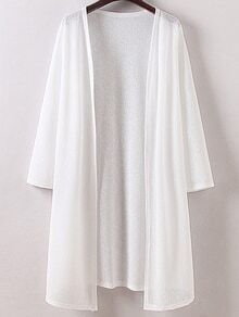 White Long Sleeve Split Side Cardigan Outerwear