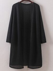 Black Long Sleeve Split Side Cardigan Outerwear