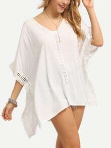 Frayed Lace Tape Trimmed Poncho Blouse