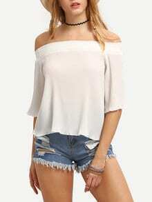 Off-The-Shoulder Pleated Chiffon Blouse