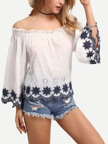 Off-The-Shoulder Flower Embroidered Blouse