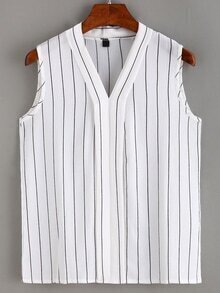 Vertical Striped Layered Placket Sleeveless Blouse
