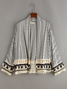 Tassel Trimmed Tribal Print Coat