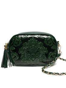 Flower Embossed Tassel Zip Chain Strap Bag - Green