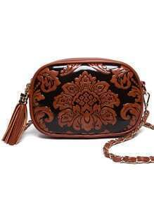 Flower Embossed Tassel Zip Chain Strap Bag - Brown