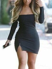 Off-The-Shoulder Zip Slit Long Sleeve Dress - Black