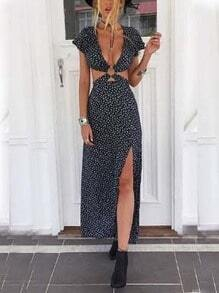 Metal Ring Accent Cutout Slit Long Dress