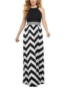 Halter Neck Chevron Print Maxi Dress