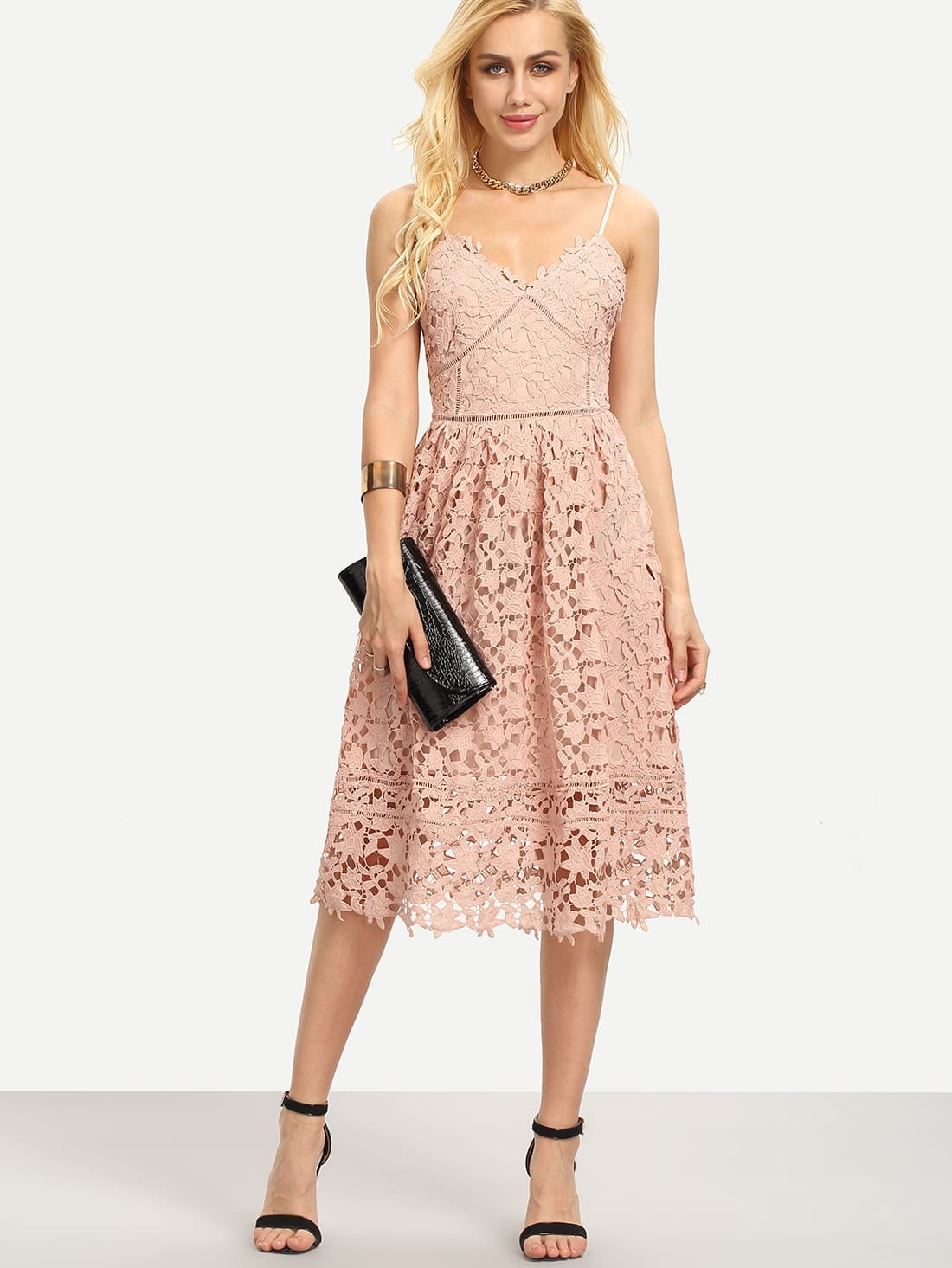 Hollow Out Fit Amp Flare Lace Cami Dressfor Women Romwe