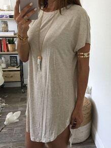 Curved Hem High-Low T-shirt Dress