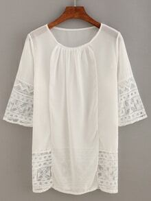 Lace Insert Pleated Front Chiffon Top