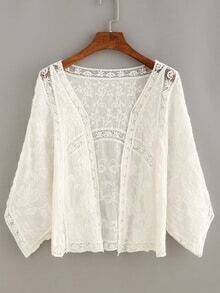 Lace Insert Embroidery Open-Front Top