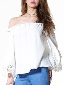 Lace Trimmed Sleeve Ruffled Off-The-Shoulder Top