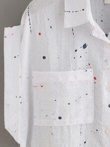 Paint Splatter Print Dual Pocket Blouse