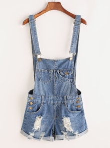 Distressed Rolled Hem Overall Denim Shorts