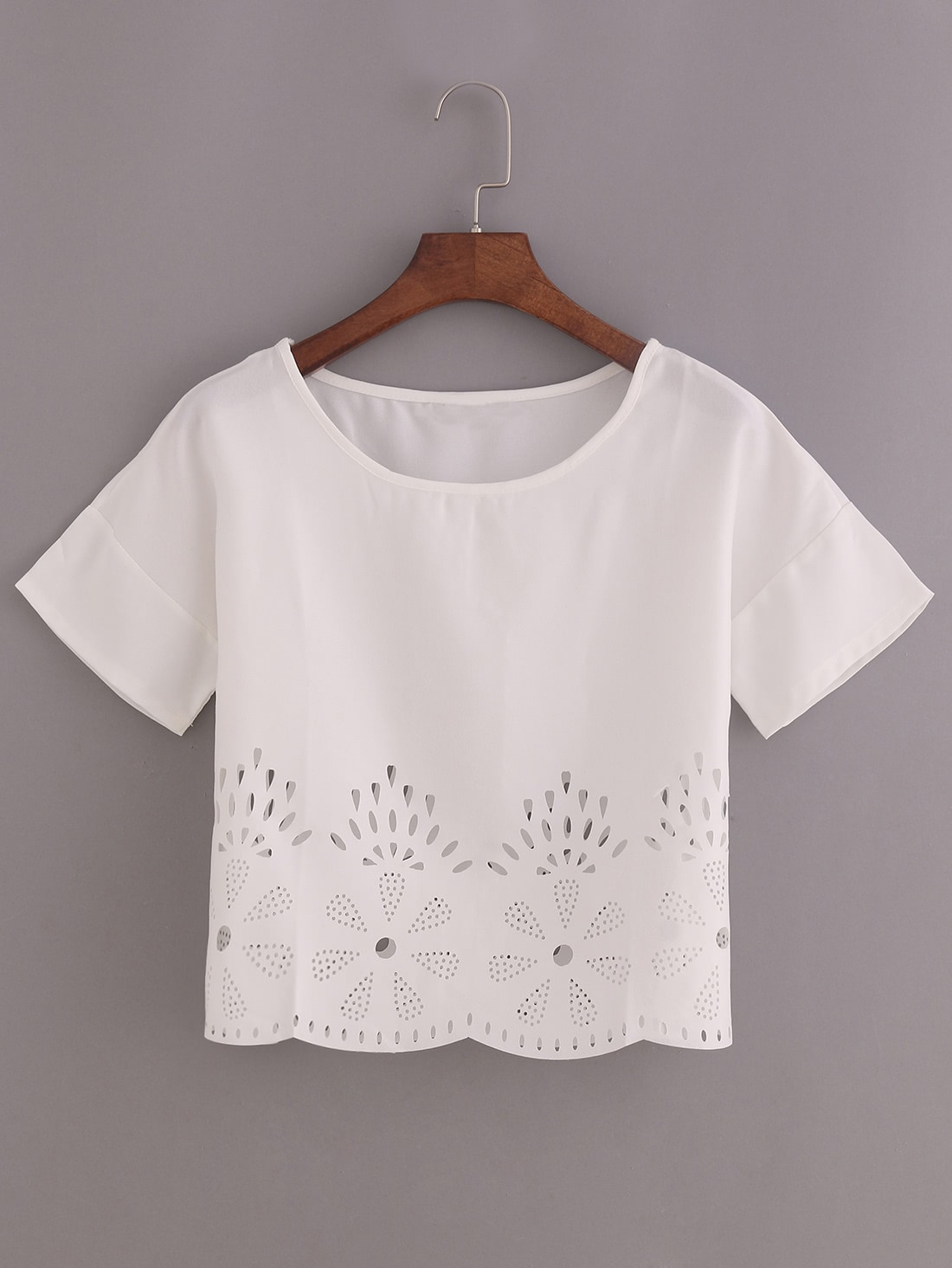 Take Offer Laser-Cut Loose Fit Top Before Too Late