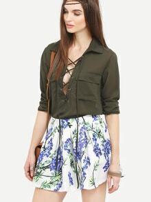 Blossom Print Box Pleated Mini Skirt
