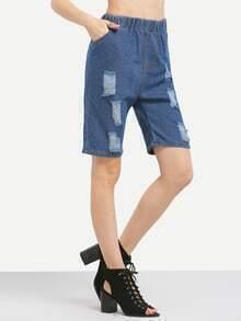 Distressed 1/2 Length Denim Jeans