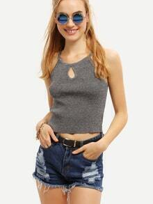 Keyhole Neck Ribbed Crop Cami Top - Grey