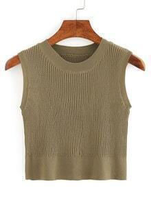 Crop Ribbed Sweater Vest - Olive Green