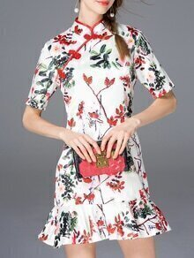 White Collar Floral Frill Dress