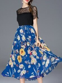 Blue Contrast Lace Print A-Line Dress
