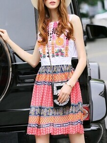 Multicolor Crew Neck Embroidered Tribal Print Dress