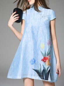 Blue Collar Ink Print Shift Dress