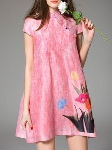 Pink Collar Ink Print Shift Dress