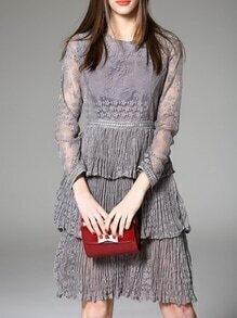 Grey Sheer Ruffle Pleated Lace Dress