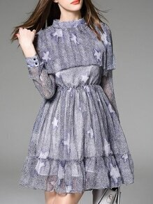 Purple Ruffle Print A-Line Dress