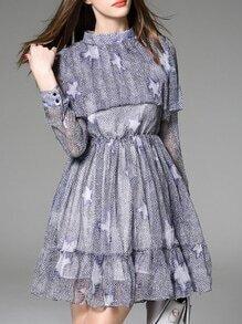 Purple Ruffle Print A-Line Dress