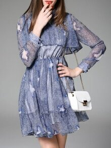 Blue Ruffle Print A-Line Dress