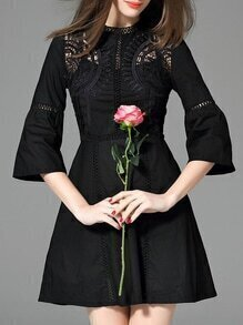 Black Bell Sleeve Embroidered Hollow A-Line Dress