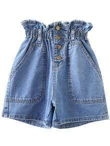 Light Blue Elastic Empire Waist Buttons Front Denim Shorts
