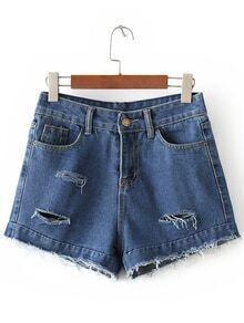 Dark Blue Pockets Fringe Ripped Hole Denim Shorts