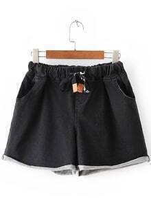 Black Roll Cuff Pockets Elastic Tie-Waist Denim Shorts