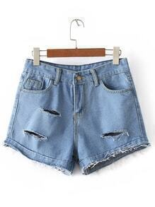 Light Blue Pockets Fringe Ripped Hole Denim Shorts