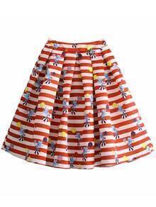 Red Zipper Side Stripe Print Flare Skirt
