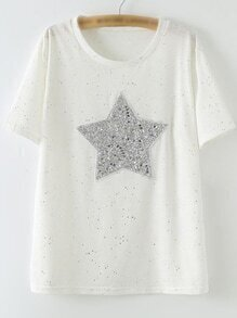 White Short Sleeve Sequined Star Patch Casual T-shirt