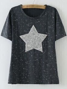 Black Short Sleeve Sequined Star Patch Casual T-shirt