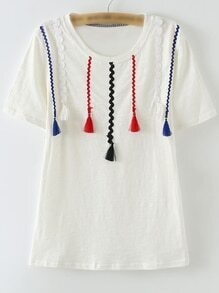 White Short Sleeve Ribbon Tassels T-shirt