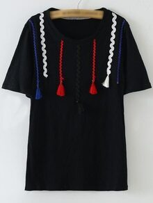 Black Short Sleeve Ribbon Tassels T-shirt