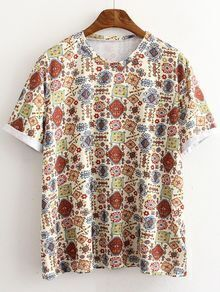 Multicolor Short Sleeve Roll Cuff Print T-shirt