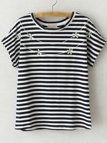 Black Short Sleeve Flowers Embroidery Stripe T-shirt