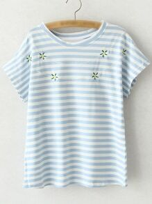 Blue Short Sleeve Flowers Embroidery Stripe T-shirt