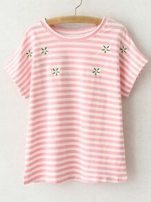 Pink Short Sleeve Flowers Embroidery Stripe T-shirt