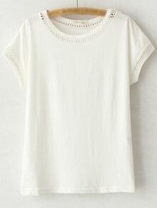 White Short Sleeve Hollow Out Casual T-shirt
