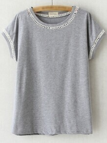 Grey Short Sleeve Hollow Out Casual T-shirt