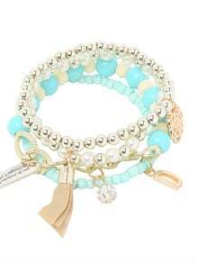 Blue Pearl Beaded Multilayers Hand Chain
